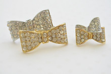 Sweetheart Bow Rhinestone Ring and Earring Set in Silver and Gold Tone