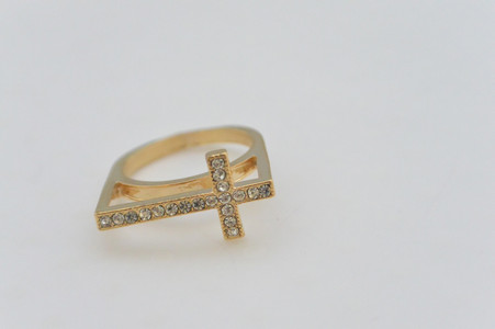 Rhinestone Cross Ring Gold Tone