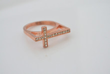 Rhinestone Cross Ring Rose Gold