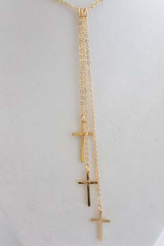 3 Cross Necklace Gold Tone