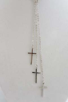 3 Cross Necklace Silver Tone
