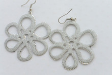 Flower Silver Tone Earrings