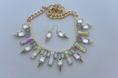 Crystal Icicle Necklace and Earrings Set