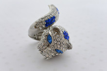 Rhinestone Leopard Ring Royal Blue