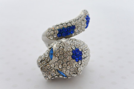 Rhinestone Leopard Ring in Royal Blue