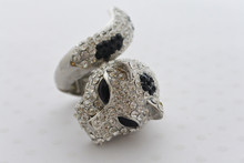 Rhinestone Leopard Ring Black