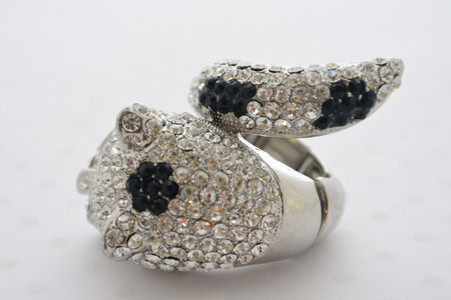 Rhinestone Leopard Ring Black and Diamond
