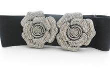 Rose Belt with metallic mirrored spikes
