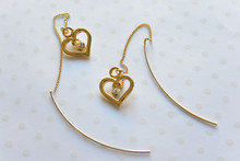 Heart Charm Gold tone Dainty Long Earrings