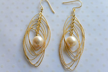 Gold Leaf Mother Of Pearl Earrigns