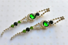 Austrian Glass Crystal Earrings in Emerald Green