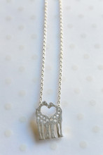 Love Heart Giraffes Dainty Necklace in Silver