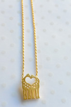 Love Heart Giraffes Dainty Necklace in Gold