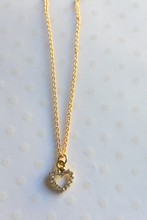 Dainty Rhinestone Heart Gold  Necklace