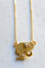 Girls Silhouette  Dainty  Necklace with Rhinestones
