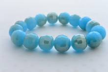 Swarovki Bead Luminous Bracelet in Sky Blue