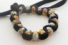 Yellow Topaz Swarovski Crystals Bracelet with Black Velvet Weaving