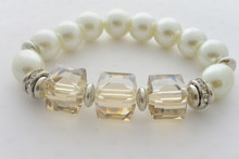 Pearls and Swarovki Champagne Crystals Bracelet