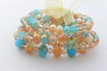 Multi-row Swarovski Crystals Beads Bracelet in Sky Blue and Champagne