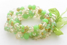 Multi-row Swarovski Crystals Beads Bracelet in Smoky Green