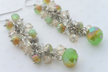 Swarovski Crystals and Rhinestones Cluster Dangle Earrings in Smoky Green