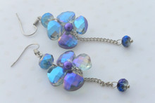 Royal Blue Swarovski Crystals Iridescent Flower Dangle Dainty Earrings