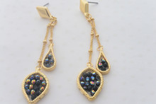 Double Chain Leaf Earrings in Midnight Blue