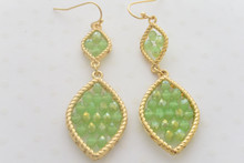Leaf Swarovski Crystal Beads Earrings in  Smoky Green