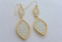 Leaf Swarovski Crystal Beads Earrings in Iridescent White