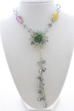 Swarovski Crystals Flower Long Necklace in Mystic Forest Green