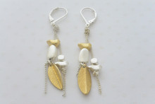 Lever Back Dainty Leaf Earrings in multi-tone Silver and Gold.
