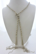 Diamond Cut Ball Link Multi Row Long Tassel Necklace in Silver
