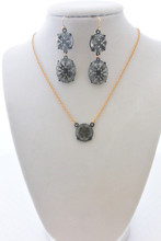 High Sparkle Black Filigree Earrings and Necklace Set