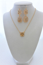 High Sparkle  Nude Filigree Earrings and Necklace Set