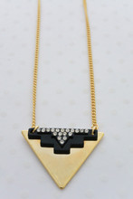 Gold Aztec Charm Necklace With Rhinestones