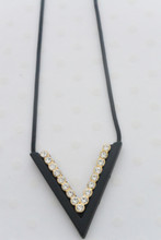 Rhinestone Embellished Black V Shape Charm Necklace