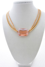 Swarovski Crystal Necklace-Bracelet Double Chain Gold Pretty Pink