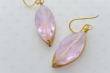 Swarovski Crystal Gold Wire Earrings in  Pretty Pink