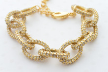 Pave Rhinestone Link Bracelet in Gold