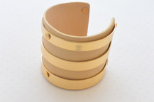 Beige Leather Cuff with Gold Accents