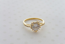 Heart Cubic Zirconia Dainty Engagement  Ring in  Gold