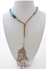 Bohemian Leather Necklace with Turquoise Beads, Silver Accents and a Silver Feather