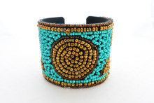 Turquoise and Bronze Beaded Cuff