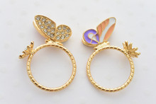 Butterfly and Flower Ring in Peach and Purple
