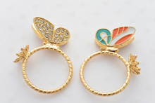 Butterfly and Flower Ring in Orange and Mint