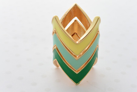 3 Piece Stacked Crown Ring Set Yellow, Teal and Green