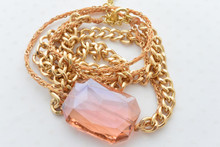 Swarovski Crystal Bracelet Double Chain Gold Necklace Pretty Pink