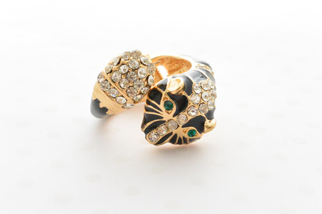 Black Panther Ring Embellished in Brilliant Rhinestones with Gold Accents and Green Crystal Eyes