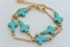 Cross Double Layered Bracelet Turquoise