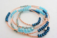 Swarovski Crystals Elements Wraparound Rose Gold  Bracelet Sky Blue